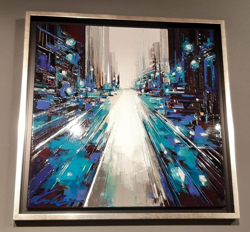 tableau leslie berthet laval artiste peintre peintre thème bleu art contemporain ville perspective technique mixte toile canvas acrilyque huile résune seringue couleurs