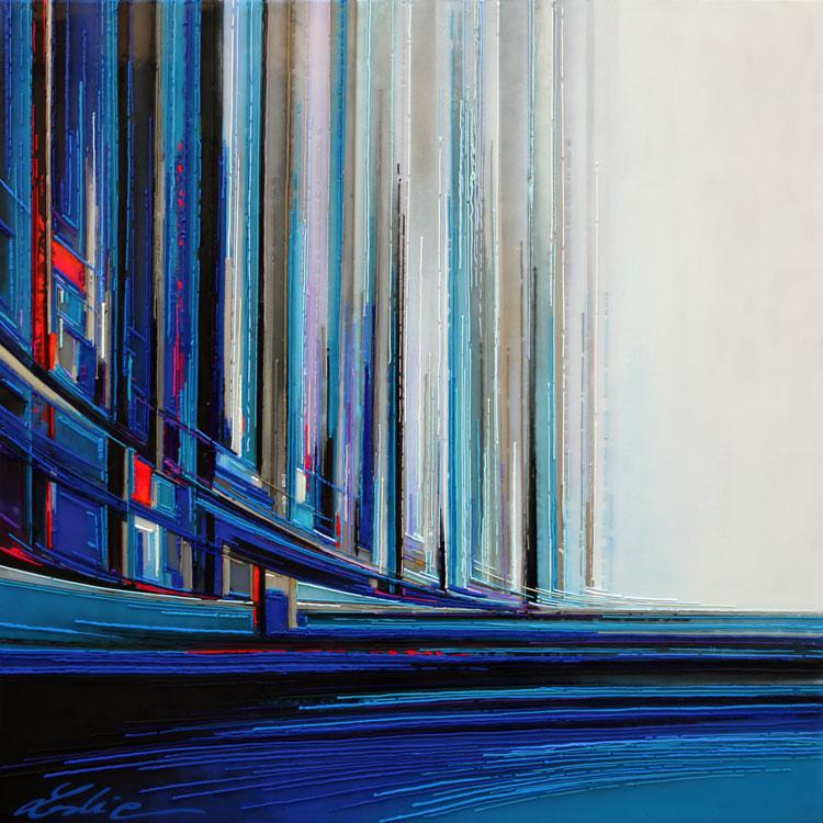 Cité marine 100x100 cm Réf URB0393 leslie berthet laval artiste peintre oeuvre unique art contemporain atelier galerie leslie peinture toile technique mixte spray peinture acrilyque huile résine seringue moderne couleurs bleu blanc