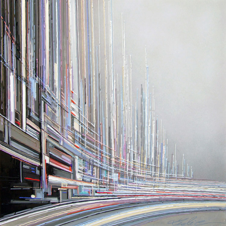 Cité urbaine 80x80 cm Réf URB0093 leslie berthet laval artiste peintre art contemporain peinture toile canvas technique mixte spray acrilyque huile résine seringue atelier galerie leslie