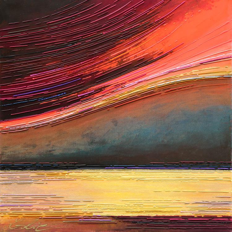 Crépuscule 50x50 cm Réf URB0379 leslie berthet laval artiste peintre art contemporain tableaux taoiles peinture technique mixte spray acrilyque huile résine seringue artelier galerie leslie