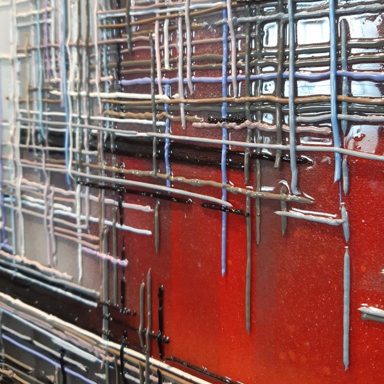 Les hauts fourneaux peinture toile oeuvre leslie berthet laval artiste peintre original art contemporain moderne technique mixte spray acrilyque huile résine couleurs peinture toile rouge gris