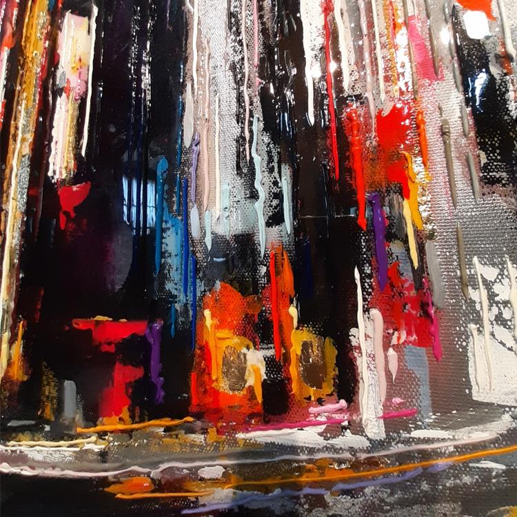 leslie berthet laval artiste peintre cité urbaine 80x80 cm huile sur toile canvas original technique mixte colorful résine feuille d'or art contemporain atelier galerie leslie viste sur rendez-vous spray acrilyque résine