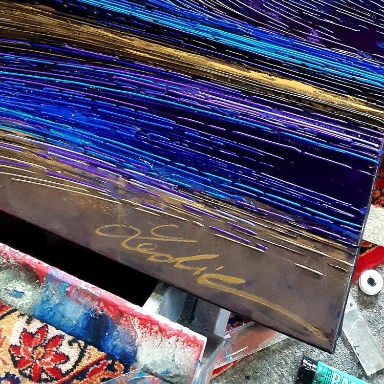 Detail 3 signature Vague au crepuscule 80x80 cm ref URB0380